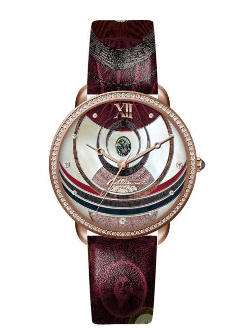 Orologio Gattinoni GW22RPL1 con quadrante con stampa planetaro lucida, 11 strass applicati, numeri in rilievo, cinturino in vera pelle con stampa e vetro minerale.