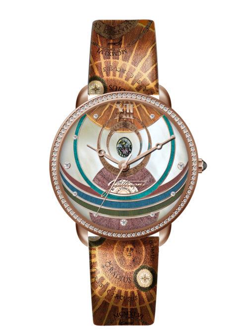 Orologio Gattinoni GW22RPL2 con quadrante con stampa planetario lucida, 11 strass applicati, numeri in rilievo, cinturino in vera pelle con stampa e vetro minerale.