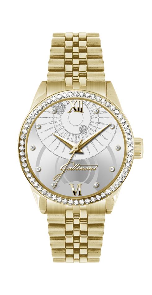 Orologio Gattinoni GW26GS1 con cinturino in acciaio dorato, quadrante sunray con stampa planetario, glitter numeri in rilievo, 10 pietre e vetro minerale.
