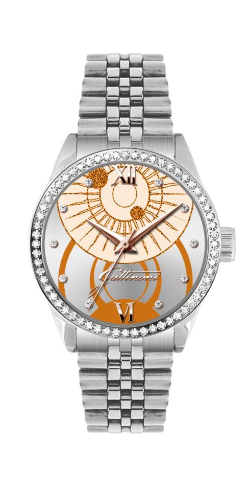 Orologio Gattinoni GW26SS1 con cinturino in acciaio, quadrante sunray con stampa planetario, glitter, numeri in rilievo, 10 pietre e vetro minerale.