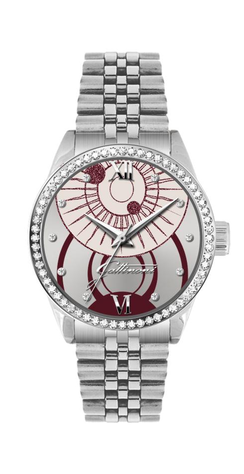 Orologio Gattinoni GW26SS2 con cinturino in acciaio, quadrante sunray con stampa planetario, glitter, numeri in rilievo, 10 pietre e vetro minerale.