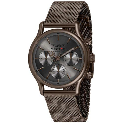 Orologio uomo Sector 660 - R3253517018con cinturino a rete color cioccolato e quadrante di dimensione 50.8 x 43 mm.