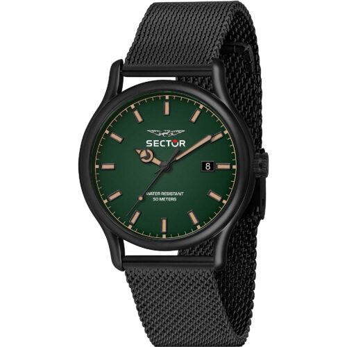 Orologio uomo Sector 660 - R3253517021con cinturino in metallo di colore nero e quadrante verde di dimensione 43 mm. Movimento a quarzo.