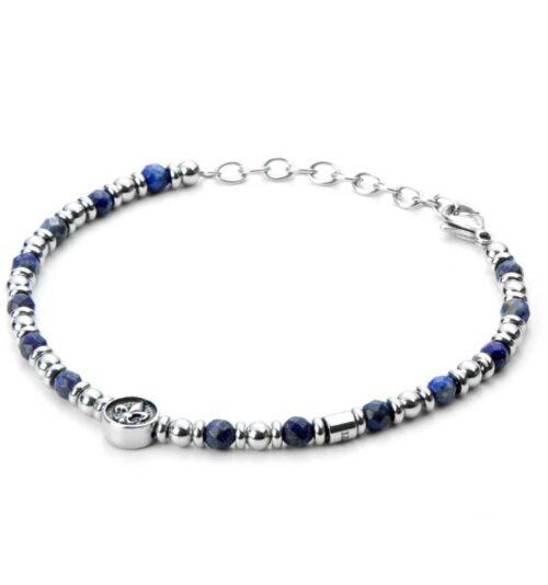 Bracciale Uomo 4US Cesare Paciotti 4UBR3336 della collezione Blu Lily. Bracciale in acciaio con sfere di lapislazzuli blu e centrale con giglio in rilievo. Lunghezza 22 cm; regolabile grazie alla chiusura a moschettone.