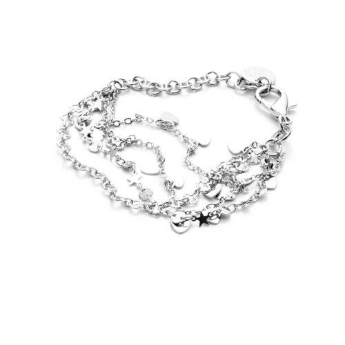 Bracciale donna 4US Cesare Paciotti 4UBR3378W della collezione Love and Dreams. Bracciale in ottone con catena a tre fili ed elementi a forma di cuore e stella. Lunghezza 15 cm + 5 cm.