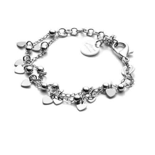 Bracciale donna 4US Cesare Paciotti 4UBR3380W della collezione Love.Bracciale in ottone con catena a doppio filo e charme a forma di cuore. Lunghezza: 15 cm + 5 cm.