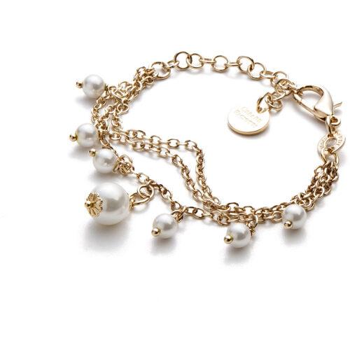 Bracciale donna 4US Cesare Paciotti 4UBR3385W della collezione Gold Pearls.Bracciale in ottone con catena a tre fili e perle bianche pendenti. Lunghezza: 15 cm + 5 cm.