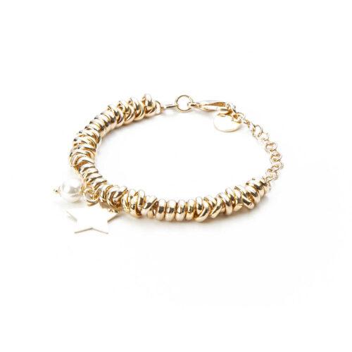 Bracciale donna 4US Cesare Paciotti 4UBR3164W della collezione Gold Symbols.Bracciale in ottone con charme a forma di stella e perla. Lunghezza: 15 cm + 5 cm.