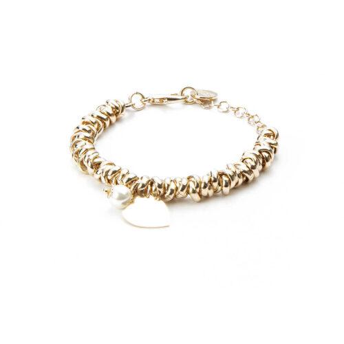 Bracciale donna 4US Cesare Paciotti 4UBR3165W della collezione Gold Symbols.Bracciale in ottone con charme a forma di cuore e perla. Lunghezza: 15 cm + 5 cm.