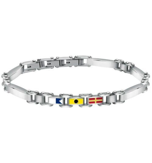 Bracciale Uomo Sector SAGJ17 della collezione Marine in acciaio con targa centrale con bandiere smaltate. Lunghezza 22 cm