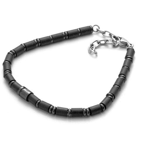 Bracciale Uomo 4US Cesare Paciotti 4UBR3564 della collezione Black Rubber. Bracciale in acciaio con maglie di forma cilindrica in gomma. Lunghezza 22 cm; regolabile grazie alle maglie removibili.