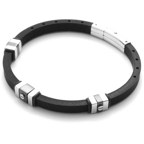 Bracciale Uomo 4US Cesare Paciotti 4UBR3574 della collezione Black Rubber. Bracciale in gomma nera con inserti in acciaio con trattamento ip nero e chiusura in acciaio. Lunghezza 21 cm.