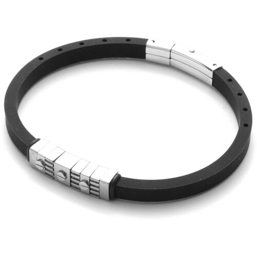 Bracciale Uomo 4US Cesare Paciotti 4UBR3577 della collezione Rubber. Bracciale in gomma nera con inserti e chiusura in acciaio. Lunghezza 21 cm.