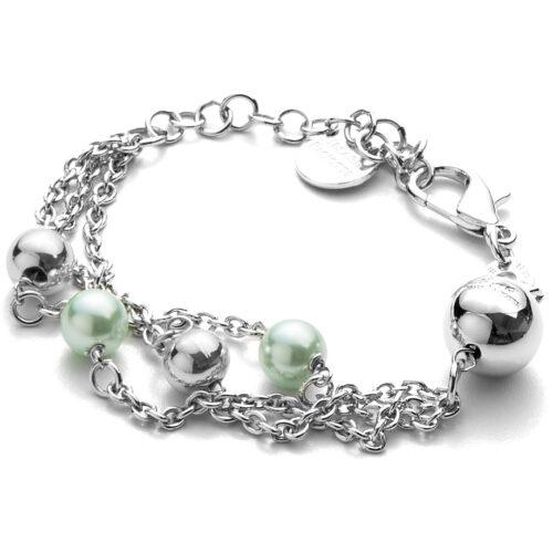 Bracciale donna 4US Cesare Paciotti 4UBR3382W della collezione White Pearls.Bracciale in ottone con catena a tre fili e sfere colorate. Lunghezza: 15 cm + 5 cm.