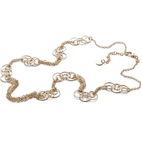 Collana donna 4US Cesare Paciotti 4UCL3354W della collezione Eight. Collana in ottone con catena multifili e anelli. Lunghezza: 80 cm; regolabile.
