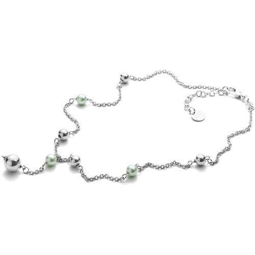 Collana donna 4US Cesare Paciotti 4UCL3381W della collezione White Pearls. Collana in ottone con sfere verdi e argentate lungo la catena. Lunghezza: 50 cm; regolabile.