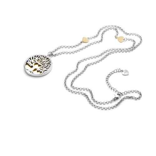 Collana donna 4US Cesare Paciotti 4UCL3393W della collezione Round tree of life. Collana in acciaio con ciondolo rotondo raffigurante l'albero della vita ed elementi a forma di cuore dorati sulla catena. Lunghezza: 60 cm; regolabile.