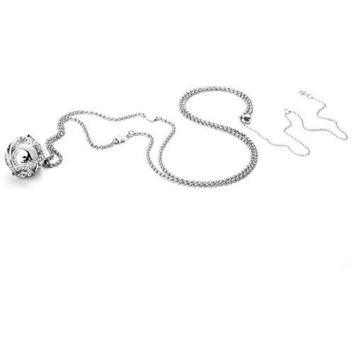 Collana donna 4US Cesare Paciotti 4UCL3196W. Collana chiama angeli in acciaio con sfera pendente dal diametro di 2 cm con all'interno un boules bianco, ed elemento a forma di stella sulla catena. Lunghezza: 80 cm; regolabile.