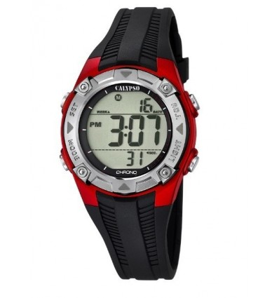 Orologio Calypso Digitale k5685/6. Orologio digitale in silicone con allarme, calendario, cronografo e illuminazione.