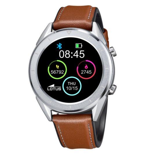 Orologio Unisex Lotus Smartime Smartwhatch 50008/1 con cinturino in pelle marrone. Compatibile con Android OS 4.4 o + e iOS 9 o +.