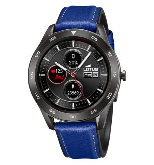 Orologio Unisex Lotus Smartwhatch 50012/2 con cinturino in pelle blu e cassa con trattamento ip nero. Compatibile con Android OS 4.4 o + e iOS 9 o +.