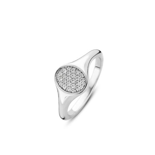 Anello Donna Ti Sento 12115ZI/54. Anello a sigillo in argento sterling rodiato con pavé di zirconi. Misura 54.