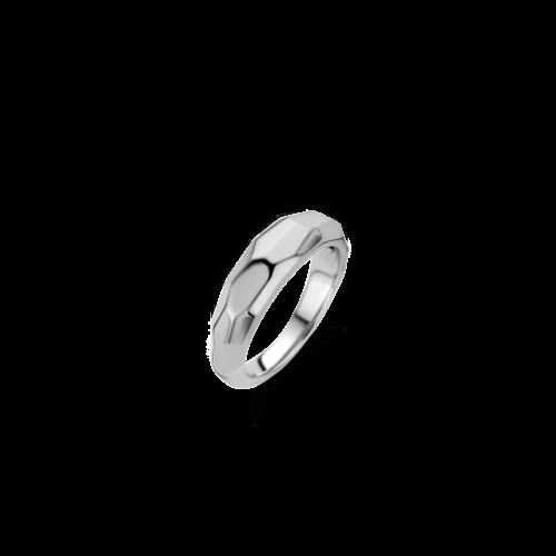 Anello Donna Ti Sento 12201SI/56. Anello in argento sterling rodiato con superficie sfaccettata. Misura 56.