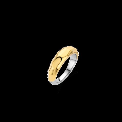 Anello Donna Ti Sento 12201SY/56. Anello in argento sterling rodiato, placcato oro giallo con superficie sfaccettata. Misura 56.
