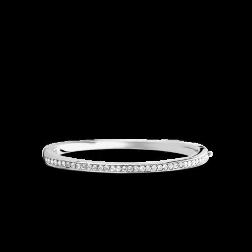 Bracciale Donna Ti Sento 2298ZI. Bracciale rigido in argento sterling rodiato con zirconi incastonati. Chiusura a scatto.