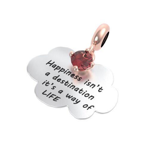 """Charme Donna Rerum 25016 della collezione Musa in argento 925 a forma di nuvola con incisione """"Happiness isn't a destination it's a way of life"""""""
