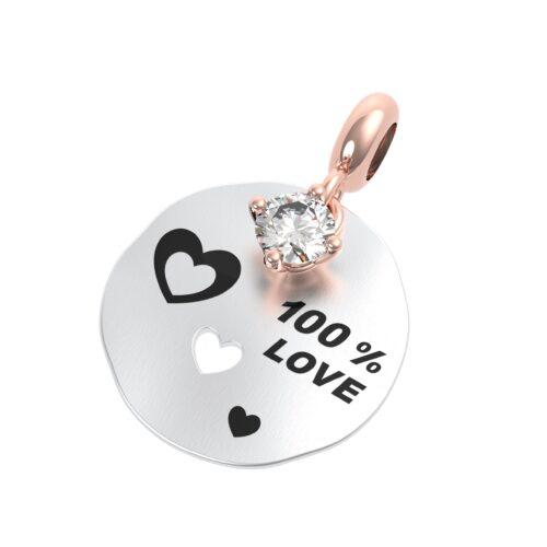 """Charme Donna Rerum 25056 della collezione Amore in argento 925 di forma rotonda con incisione """"100% Love""""."""