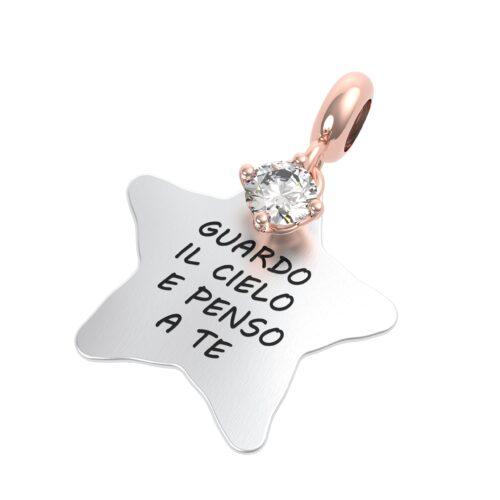 """Charme Donna Rerum 25064 della collezione Amore in argento 925 a forma di stella con incisione """"Guardo il cielo e penso a te""""."""