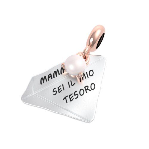 """Charme Donna Rerum 25072 della collezione Famiglia in argento 925 a forma di diamante con incisione """"Mamma sei il mio tesoro""""."""