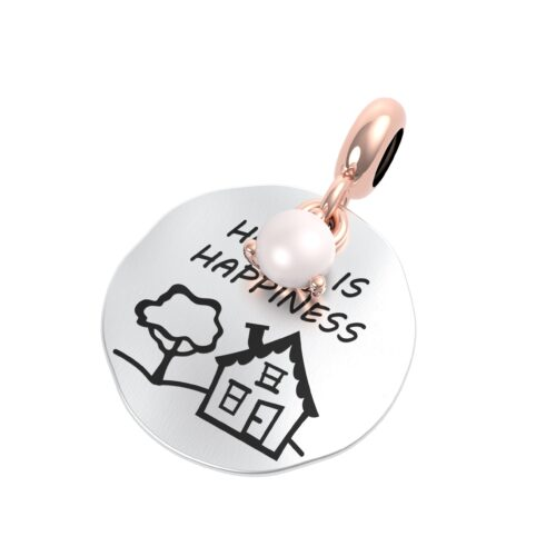 """Charme Donna Rerum 25074 della collezione Famiglia in argento 925 a forma di diamante con incisione """"Home is happiness"""""""