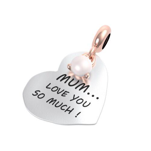 """Charme Donna Rerum 25079 della collezione Famiglia in argento 925 a forma di cuore con incisione """"Mum love you so much!"""""""