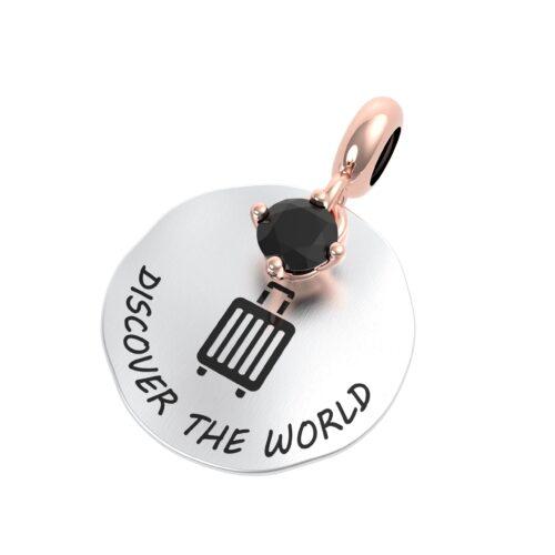"""Charme Donna Rerum 25087 della collezione Passioni in argento 925 di forma rotonda con incisione """"Discover the world"""""""