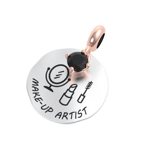 """Charme Donna Rerum 25090 della collezione Passioni in argento 925 di forma rotonda con incisione """"Make- up artist""""."""