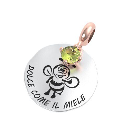 """Charme Donna Rerum 25100 della collezione Natura in argento 925 di forma rotonda con incisione """"Dolce come il miele""""."""