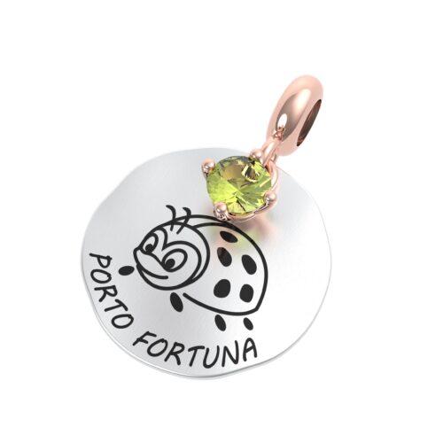 """Charme Donna Rerum 25101 della collezione Natura in argento 925 di forma rotonda con incisione """"Porta fortuna""""."""