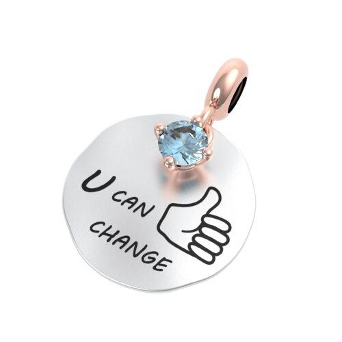 """Charme Donna Rerum 25115 della collezione Propositi in argento 925 di forma rotonda con incisione """"You can change"""""""