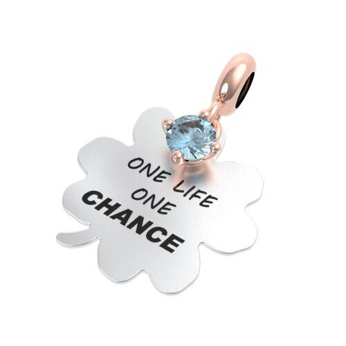 """Charme Donna Rerum 25121 della collezione Propositi in argento 925 a forma di quadrifoglio con incisione """"One life one chance"""""""