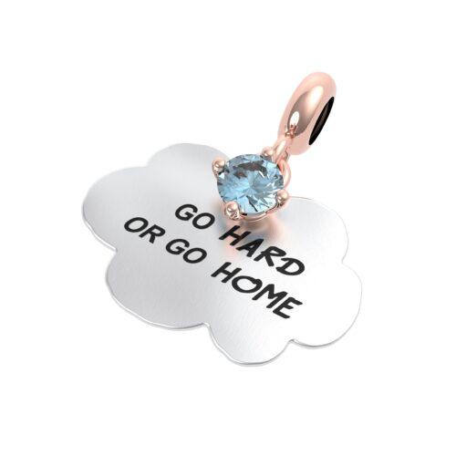 """Charme Donna Rerum 25122 della collezione Propositi in argento 925 a forma di nuvola con incisione """"Go hard or go home"""""""