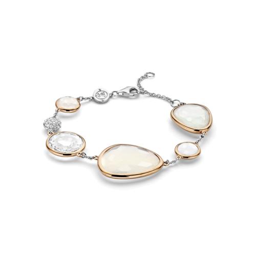 Bracciale Donna Ti Sento 2825WM. Bracciale in argento sterling rodiato con placcatura oro rosa e cristalli sintetici. Chiusura a moschettone.