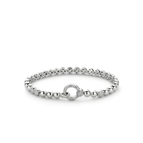 Bracciale Donna Ti Sento 2871ZI. Bracciale in argento sterling rodiato formato da maglie a forma di bolla, alcune delle quali ricoperte da zirconi.