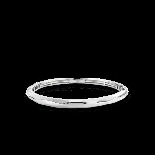 Bracciale Donna Ti Sento 2942SI. Bracciale rigido in argento sterling rodiato caratterizzato da sfaccettature irregolari. Chiusura a scatto.