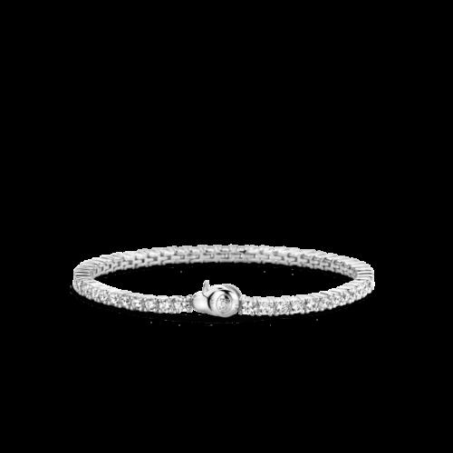 Bracciale Donna Ti Sento 2951ZI. Bracciale tennis in argento sterling rodiato composto da zirconi bianchi con montatura a cabochon.