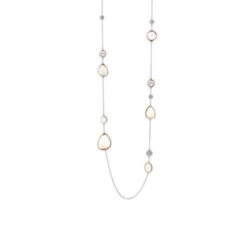 Collana Donna Ti Sento 3842WM/90. Collana in argento sterling rodiato con pietre di varie dimensioni incorniciate da una montatura placcata oro rosa. Lunghezza catena: 90 cm.
