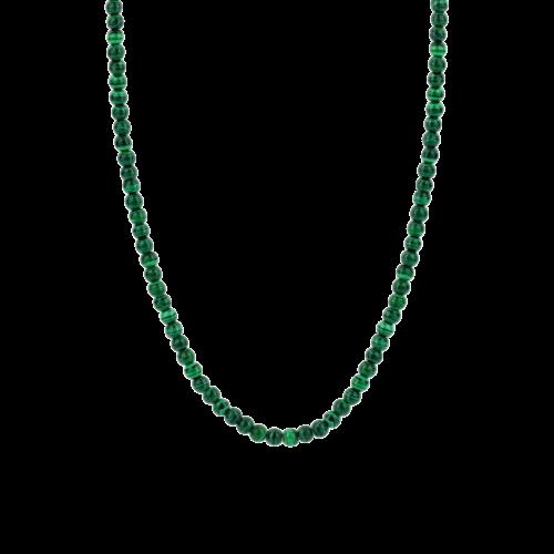 Collana Donna Ti Sento 3916MA/42. Collana in argento sterling rodiato con pietre di malachite verde. Lunghezza catena: 42 cm.