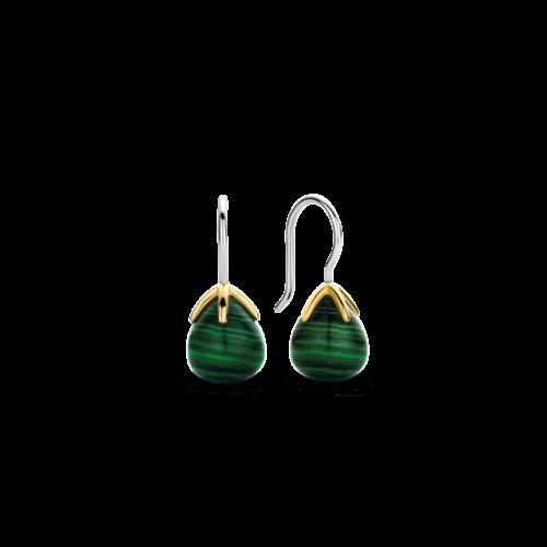 Orecchini Donna Ti Sento 7802MA. Orecchini in argento sterling rodiato con pietre di malachite verde e griffe placcate oro. Lunghezza: 2 cm.