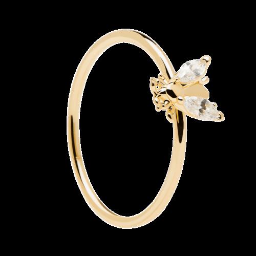 Anello Donna PDPAOLA AN01-218-12. Anello in argento sterling 925 con placcatura in oro 18k e soggetto a forma di mosca con zirconi bianchi. Disponibile in diverse misure.